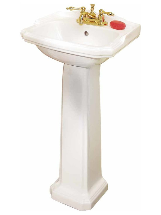 Renovators Supply - Pedestal Sinks White China Cloakroom Space-saving Pedestal Sink   19355 - Petite Pedestal Sinks: Classic small American sink takes an English turn. Easy to clean Grade A vitreous china. Open backed pedestal for easy installation even with non-standard rough-ins. The white vitreous china cloak room small pedestal sink measures 19 inch wide, 33 inch high, projects 15 inch, and is 5 3/4 inch deep. Backsplash is 1 7/8 inch high. Takes a 4 inch centerset faucet (not included). Soap sold separately.