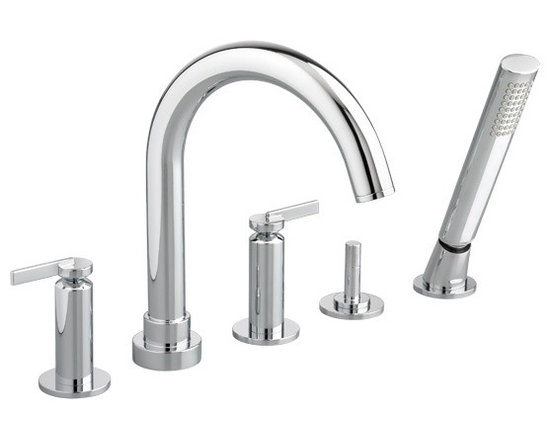 Stoic Deck Mount Tub Filler with Hand Shower - Cy Handles - Cast brass spout and valves