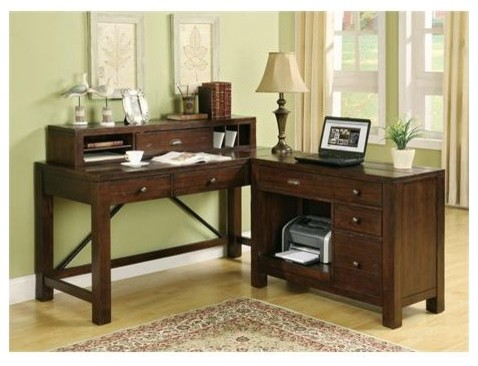 """Castlewood 24"""" Writing Desk Hutch modern-home-office-products"""