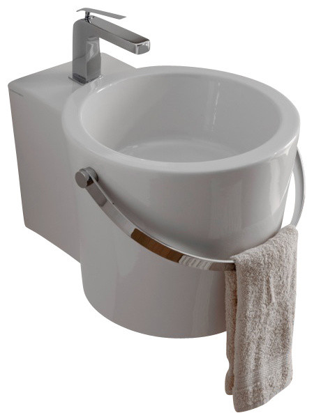 3 Hole Vessel Sink : ... Mounted or Vessel Bathroom Sink, One Hole contemporary-bathroom-sinks