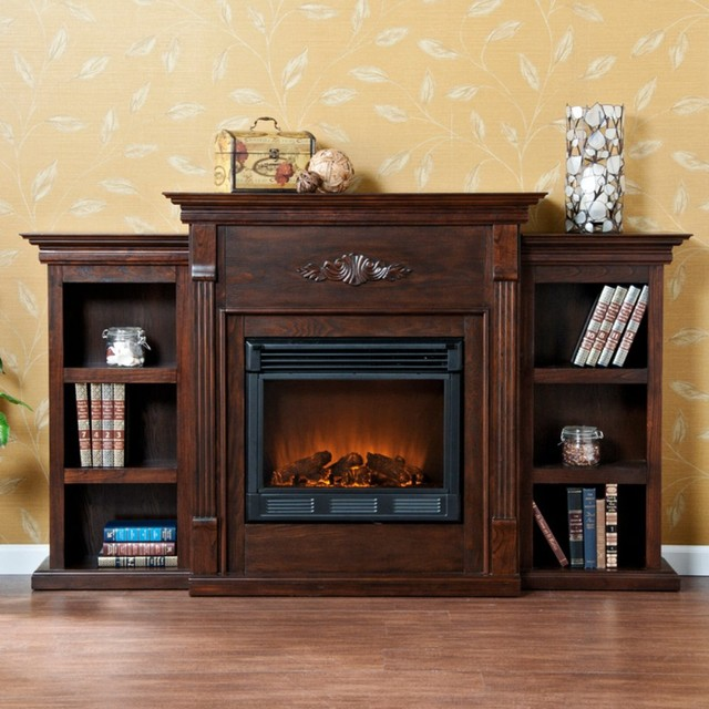 Southern Enterprises Tennyson Espresso Electric Fireplace With Bookcases Modern Fireplaces