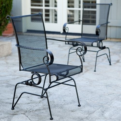 Paxton Spring Base Wrought Iron Dining Chair - Set of 2 contemporary-outdoor-lounge-chairs