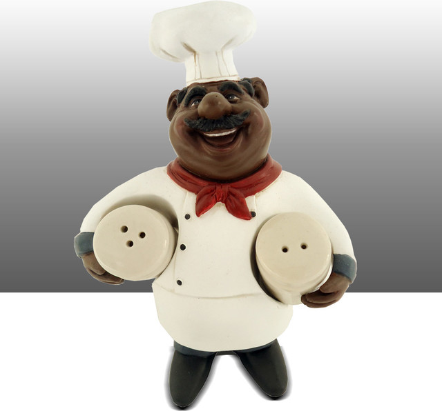 Black Chef Kitchen Statue Salt And Pepper Holder Table Art
