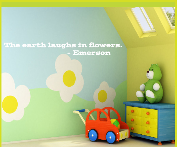 The earth laughs in flowers Vinyl Wall Decal gardeningroomquotes08, Light Purple contemporary-wall-decals