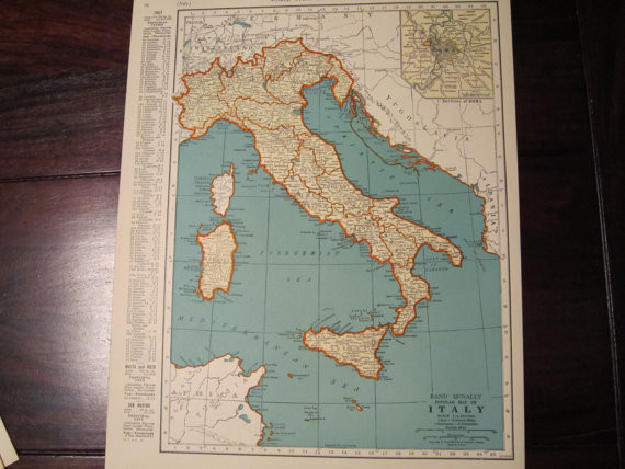 Vintage Map of Italy, 1935 Original by Past on Paper traditional-artwork