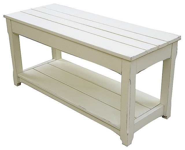 Trade Winds Furniture White Cottage Plank Bench And Coffee Table Contemporary Coffee Tables