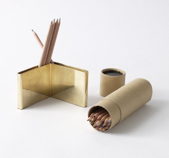Colored Pencils & Brass Holder Set Modern Desk