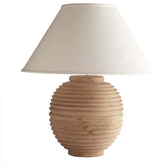 Turned Round Mango Wood Lamp Traditional Table Lamps