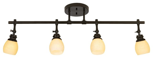 Contemporary Elm Park 4-Head Bronze Track Wall or Ceiling Light Fixture traditional-track-lighting