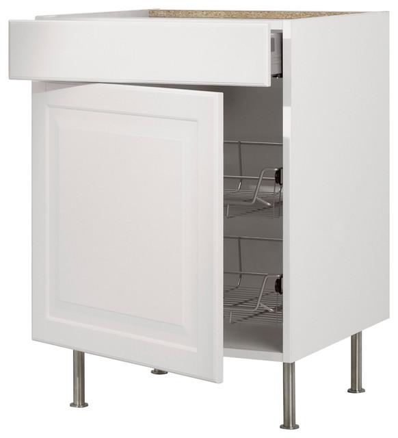 Akurum Base Cabinet With Wire Basket, Drawer, Door, Birch/Lidingö White contemporary-kitchen ...