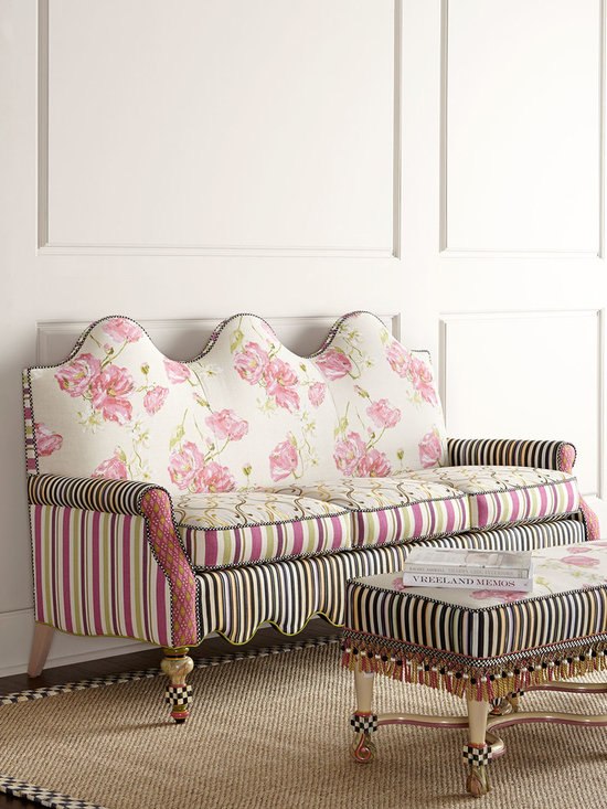 "MacKenzie-Childs - Summerhouse Sofa - MULTI COLORS - MacKenzie-ChildsSummerhouse SofaDetailsHandcrafted sofa.Upholstered in cotton/linen rayon/linen and rayon/polyester/cotton fabrics.Due to the nature of handcrafting settees may vary.72""W x 31""D x 42""T. Seat 62""W x 21.5""D x 22""T; arms 24""T.Made in the USA.Boxed weight approximately 115 lbs. Please note that this item may require additional delivery and processing charges.Designer About MacKenzie-Childs:Established in 1983 MacKenzie-Childs combines vibrant colors and patterns to create a whimsical collection of tableware furniture and decorative accessories that epitomize ""tradition with a twist."" The company's designers draw inspiration from the pastoral setting of their studios located on a 65-acre former dairy farm in Aurora New York."