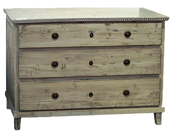 Soren Dresser - Rustic and distressed, the Soren dresser in available in either a black or gray hand-applied paint finish. Featuring three long drawers, this Swedish-style dresser is accented with antiqued hardware on the drawers and trim around the dresser top. This dresser has been built from reclaimed old wood to enhance its charm and style. Perfect for displaying personal photos and storing jewelry, this rustic dresser is an enchanting accent for the bedroom.