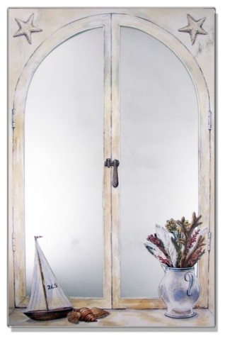 Faux Window Mirror Screen with Sailboat and Vase of Feathers modern-home-decor