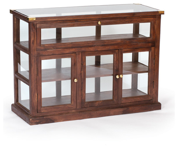 Shop Wood and Glass Showcase - Accent Chests And Cabinets - miami - by GablesFurniture.com