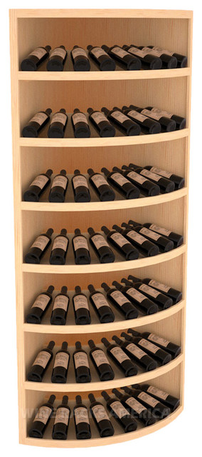 7 Tier Quarter Round Display 56 Bottle in Pine traditional-wine-racks