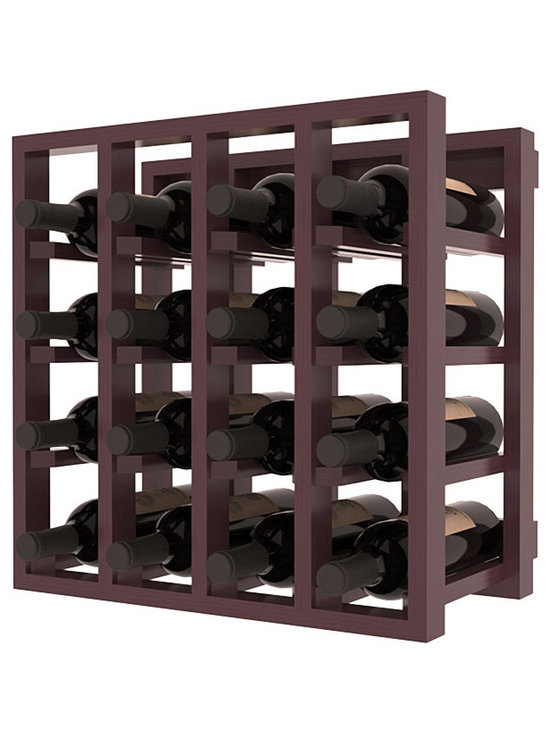 Lattice Stacking Wine Cubicle in Pine with Burgundy Stain + Satin Finish - Designed to stack one on top of the other for space-saving wine storage our stacking cubes are ideal for an expanding collection. Use as a stand alone rack in your kitchen or living space or pair with the 20 Bottle X-Cube Wine Rack and/or the Stemware Rack Cube for flexible storage.