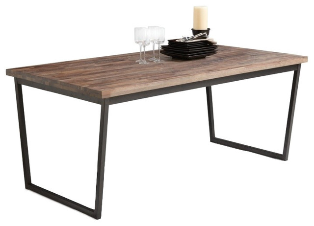 Dining Table In Solid Walnut With Distressed Finish Industrial Dining