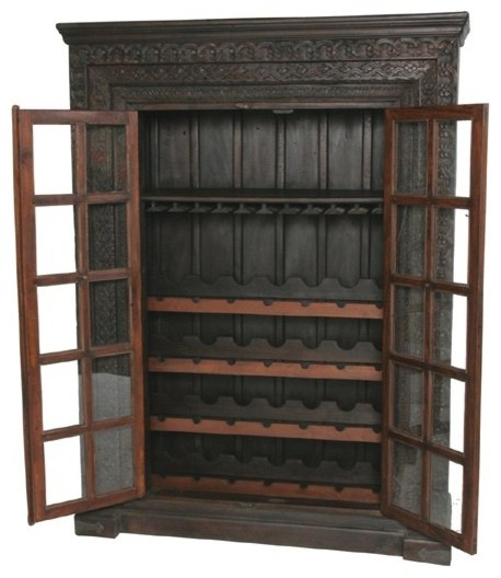 MOTI Furniture Pampa Wine Cabinet Old Glass Front Door