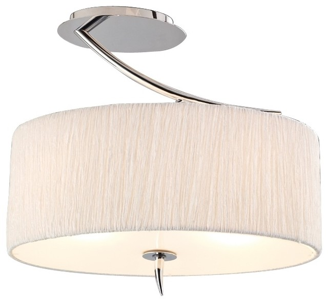 """Traditional Artcraft Sloan 16"""" Wide Silk and Chrome Ceiling Light traditional-ceiling-lighting"""