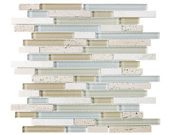 4 x 6 Sample - Bliss Spa Random Strip Glass and Stone Mosaic Tiles contemporary kitchen tile