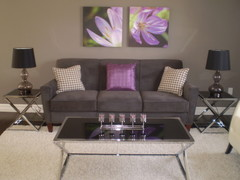 Grey purple modern living living room designs for Purple and gray living room ideas