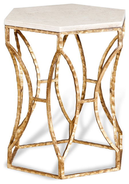 Roja Antique Gold Leaf Cream Marble Hexagonal Side Table transitional-side-tables-and-end-tables