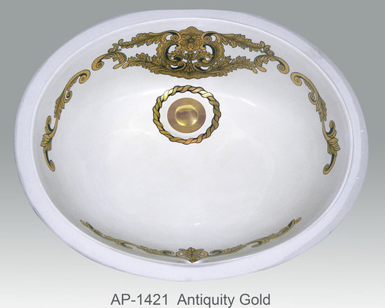 "Hand Painted Undermounts by Atlantis Porcelain - ""ANTIQUITY GOLD"" Shown on AP-1421 white Ovalyn undermount 17-1/2""x14-1/2"". This design is available in bright gold and bright platinum on any of our sinks. You can customize the finish to match your specific décor."