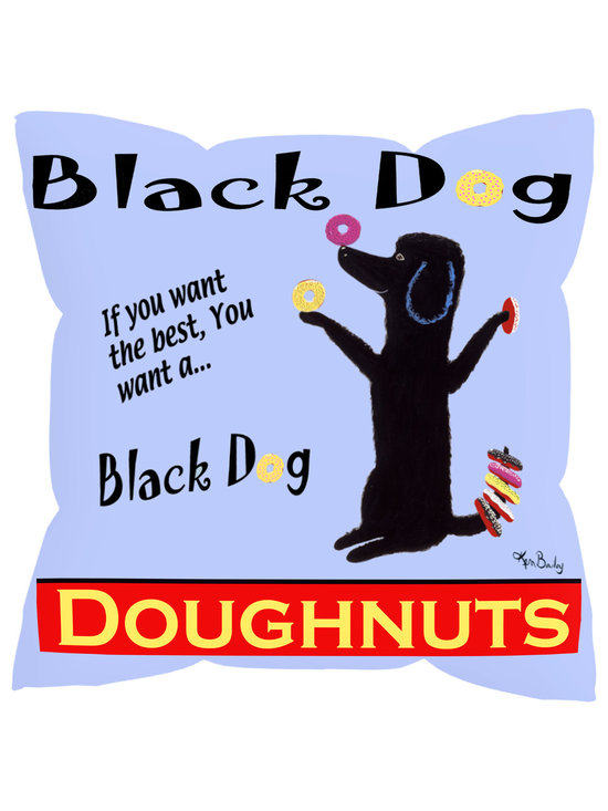 """Black Dog Donuts Pillow - Black Dog Donuts is a colorful 18"""" x 18"""" pillow with concealed zipper and feather & down (95/5) insert. 100% Eco friendly material printed with non toxic, non fading dyes. Front 100% polyester from recycled plastic bottles. Back 65% polyester from recycled plastic bottles; 35% organic cotton. Artwork by Ken Bailey and made in a New England textile factory."""