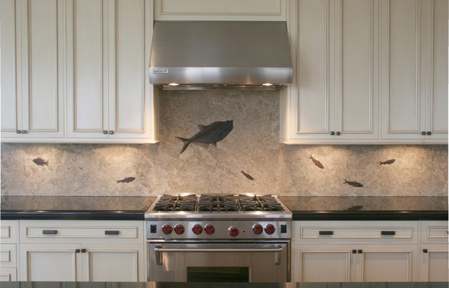 fossil backsplash from green river stone company contemporary kitchen