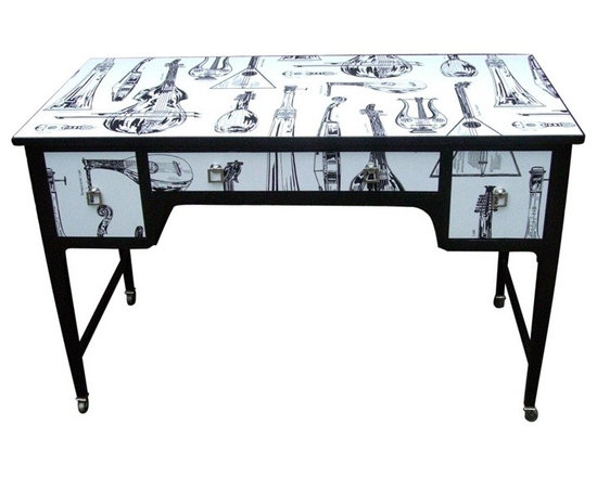 Music Writing Desk - Edwardian table, with square tapered legs on original brass casters decorated in striking black and white wallpaper featuring an array of musical string instruments; lutes, cellos, lyres, double bass's etc.