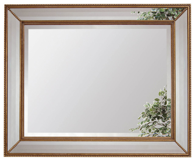 Gold Leaf Beveled Rectangle Wall Mirror contemporary-mirrors