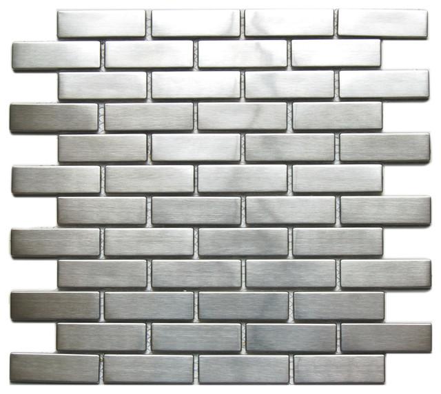 Sample Black Gray Pattern Aluminum Stainless Mosaic Tile: Large Brick-Pattern Eden Mosaic Stainless Steel Tile