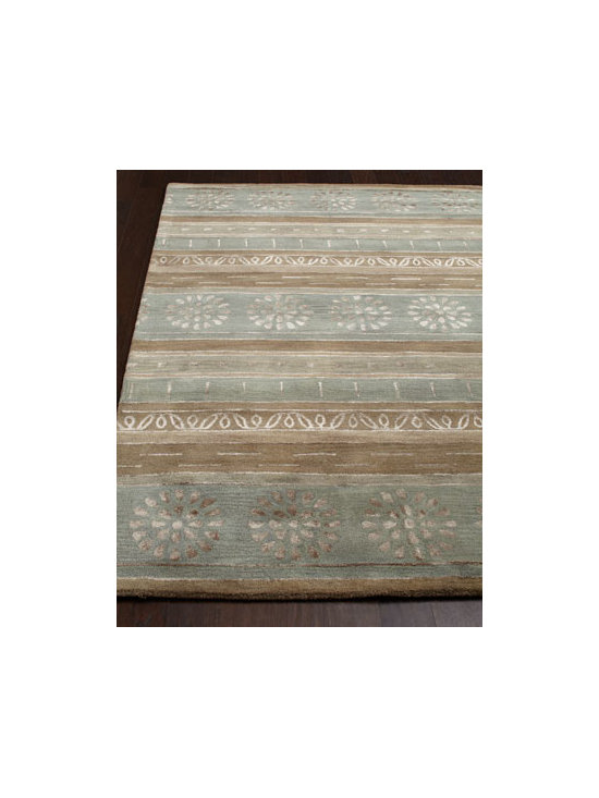"Horchow - ""Eastside"" Striped Rug - We love the muted earth tones and subtle patterning of this striped rug. It grounds the room with warmth and works well with a variety of decorating styles. Hand tufted of wool and viscose. Cotton backing. Sizes are approximate. Imported. See...."