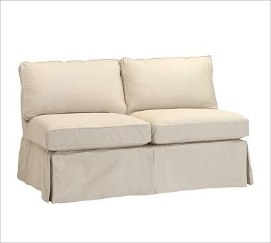 PB Basic Armless Love Seat, Polyester Wrap Cushions, Denim Warm White traditional-loveseats