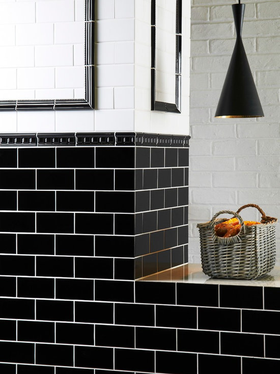 The Artworks Collection - Fashionable monochrome wall tiles in the metro or subway style. Bright white contrasted with jet black makes a chic statement. All by Original Style.