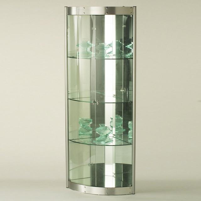 Corner Curio with Mirrored Interior - Silver - Modern - Books