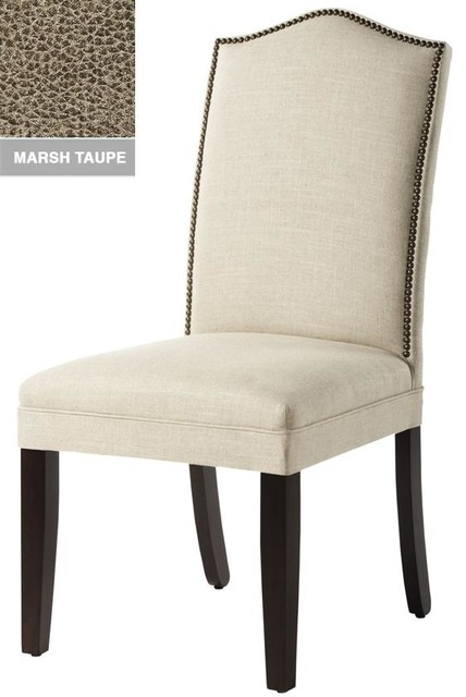 Custom Camel-Back Parsons Chair with Nailhead Trim traditional-task-chairs