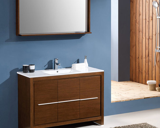 Fresca - Fresca Allier 48 Wenge Brown Modern Bathroom Vanity w/ Mirror - A modern freestanding vanity unit, the Fresca Allier contains ample storage space for all of your bathroom supplies. Slick and modern in its design with a matching wall mirror, the Allier vanity with luxurious Wenge finish will transform any bathroom area. This high quality vanity comes complete with the ceramic sink and countertop. Allier Bathroom Vanity Details:   Dimensions: Vanity  W 47.25 x D 18 x H 33.5, Mirror W 47.25 x D 6 x H 25.5 Material: Plywood with Veneer, ceramic counter top/sink with overflow Finish: Wenge Brown Includes mirror Single hole faucet mount Please note: faucet not included