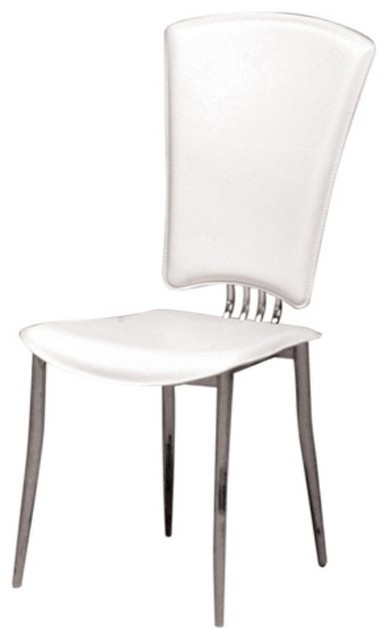 Chintaly Tracy Contemporary Dining Side Chair - White Vinyl - Set of 6 - CTY376 contemporary-dining-chairs