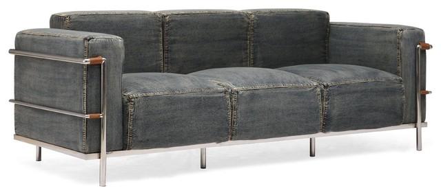 Colins Blue Denim Sofa Modern Sofas New York By