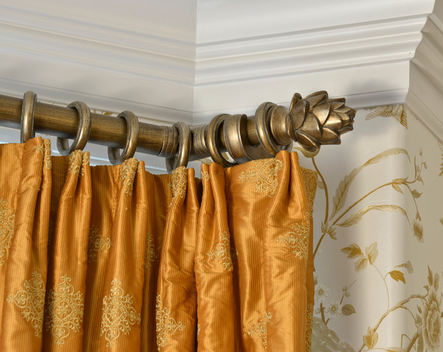 Silk Panels with Brushed Gold Rod and Rings traditional-curtain-rods
