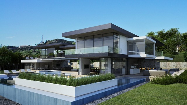 Hollywood Hills contemporary-rendering