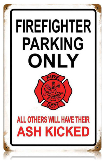 Firefighter Parking Vintage Metal Sign modern-home-decor