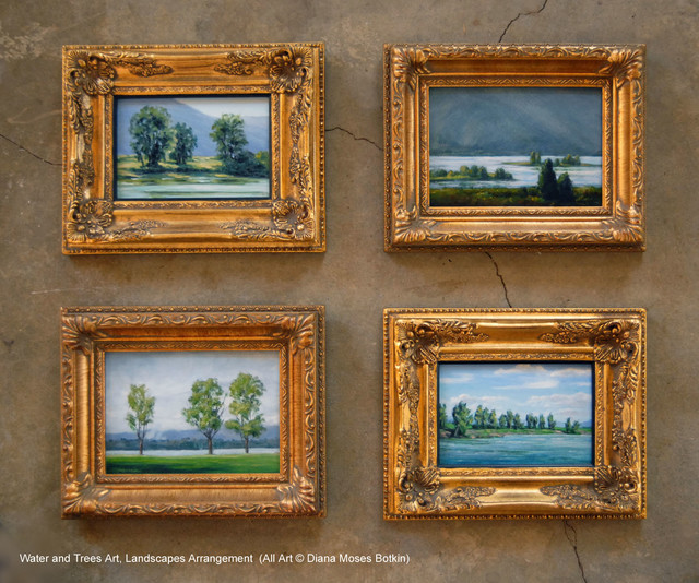 Wall Space Arrangement Of Small Framed Landscapes