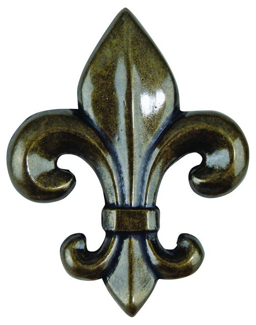 Fleur D'Lis Knob - 4006-BB (Set of 10) (Aged - Traditional - Cabinet And Drawer Knobs - by ivgStores