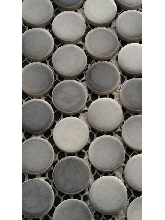 Rachels Mosaics - Gray Penny round mosaic - This beautiful penny round will enhance any project. Durable enough to be installed floors.  Featuring shade variations making for a unique finish.