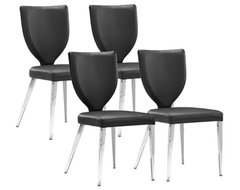 Set of 4 Zuo Modern Maz Black Upholstered Dining Chair contemporary-dining-chairs