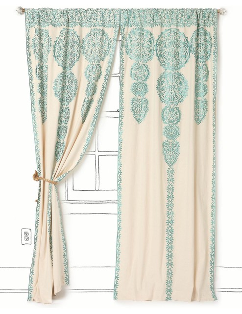 Marrakech Curtain, Tuquoise mediterranean-curtains