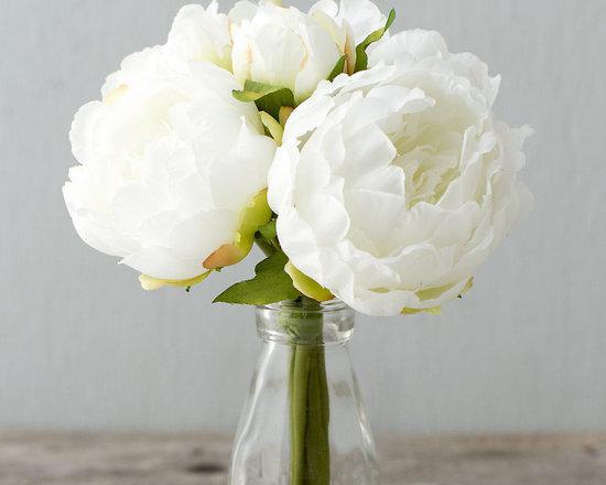 Silk Peony Bouquet, White -