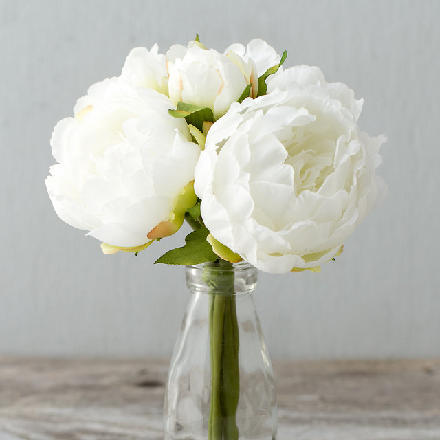 Silk Peony Bouquet White Traditional Artificial